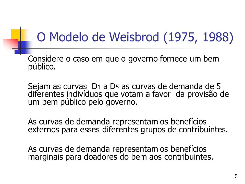 9 O Modelo de Weisbrod (1975, 1988) Considere o caso em que o governo fornece um bem público. Sejam as curvas D 1 a D 5 as curvas de demanda de 5 dife