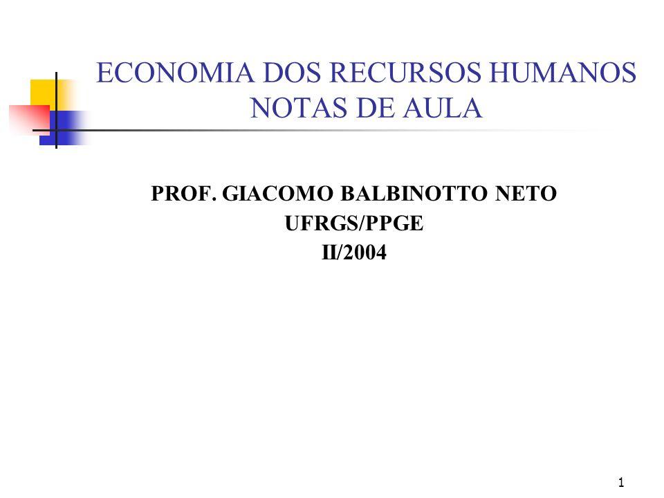 1 ECONOMIA DOS RECURSOS HUMANOS NOTAS DE AULA PROF. GIACOMO BALBINOTTO NETO UFRGS/PPGE II/2004