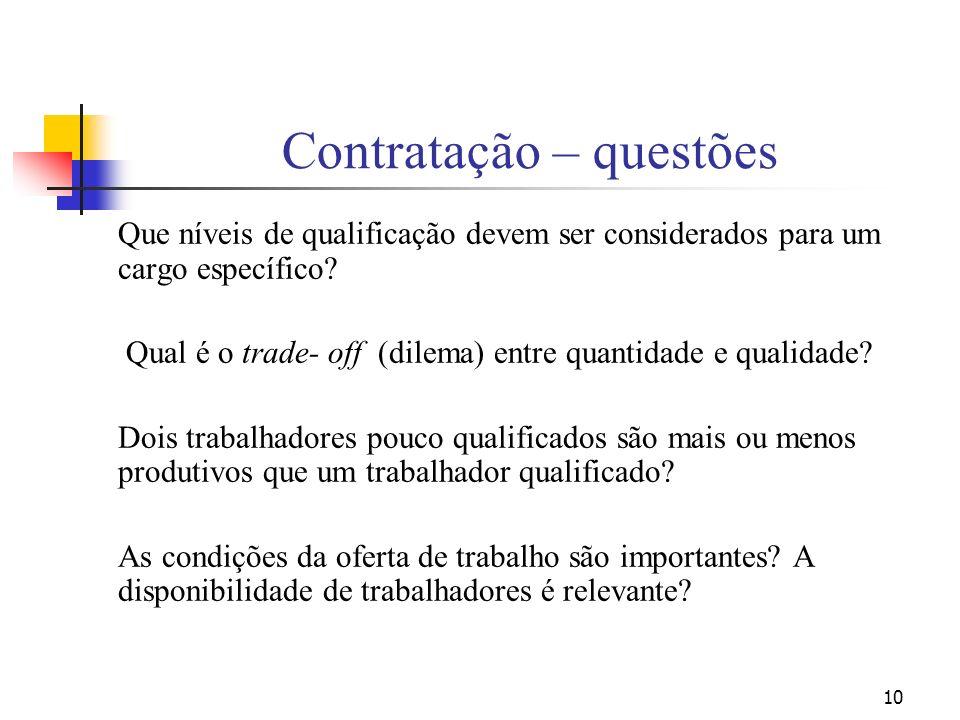 10 Contratação – questões Que níveis de qualificação devem ser considerados para um cargo específico? Qual é o trade- off (dilema) entre quantidade e