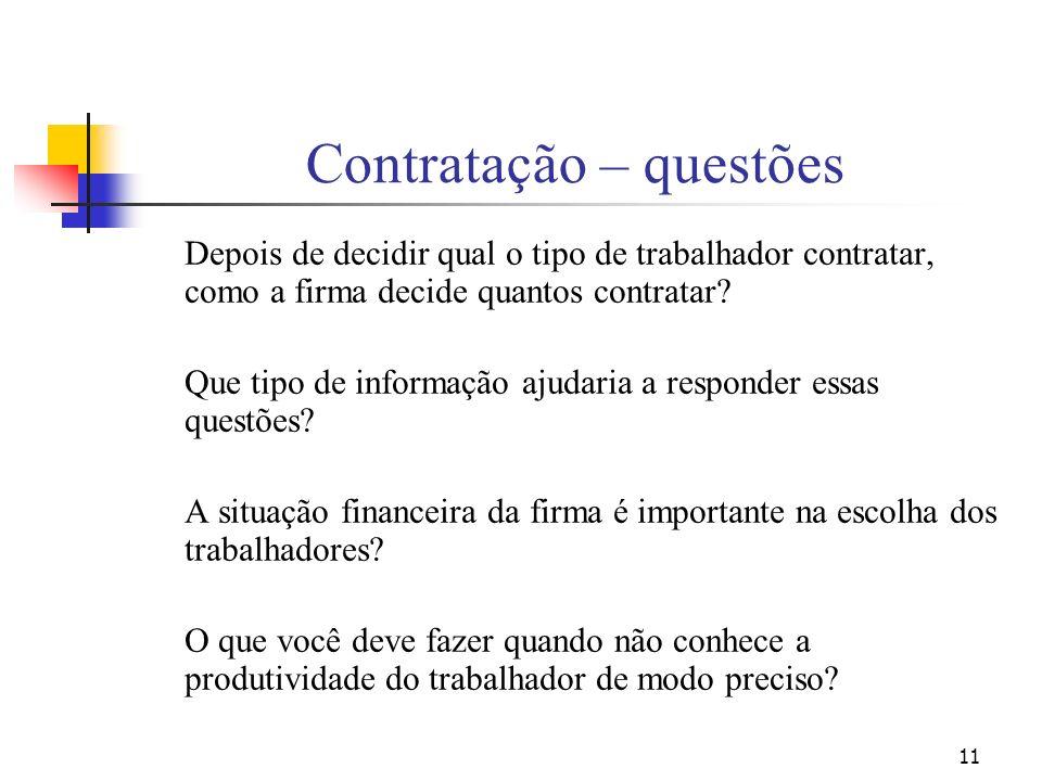 11 Contratação – questões Depois de decidir qual o tipo de trabalhador contratar, como a firma decide quantos contratar? Que tipo de informação ajudar