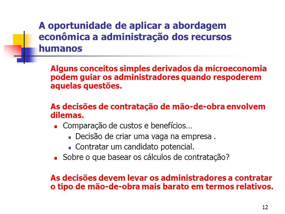 12 A oportunidade de aplicar a abordagem econômica a administração dos recursos humanos Alguns conceitos simples derivados da microeconomia podem guiar os administradores quando respoderem aquelas questões.