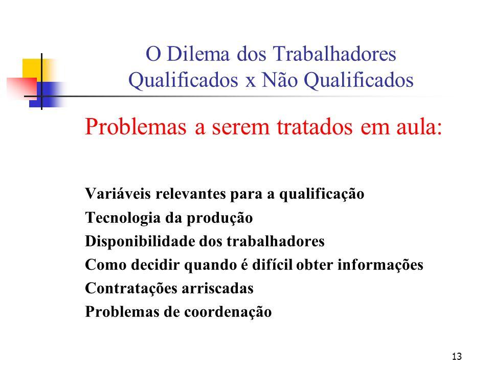 13 O Dilema dos Trabalhadores Qualificados x Não Qualificados Problemas a serem tratados em aula: Variáveis relevantes para a qualificação Tecnologia