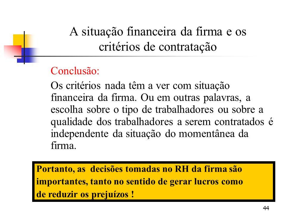 44 A situação financeira da firma e os critérios de contratação Conclusão: Os critérios nada têm a ver com situação financeira da firma. Ou em outras