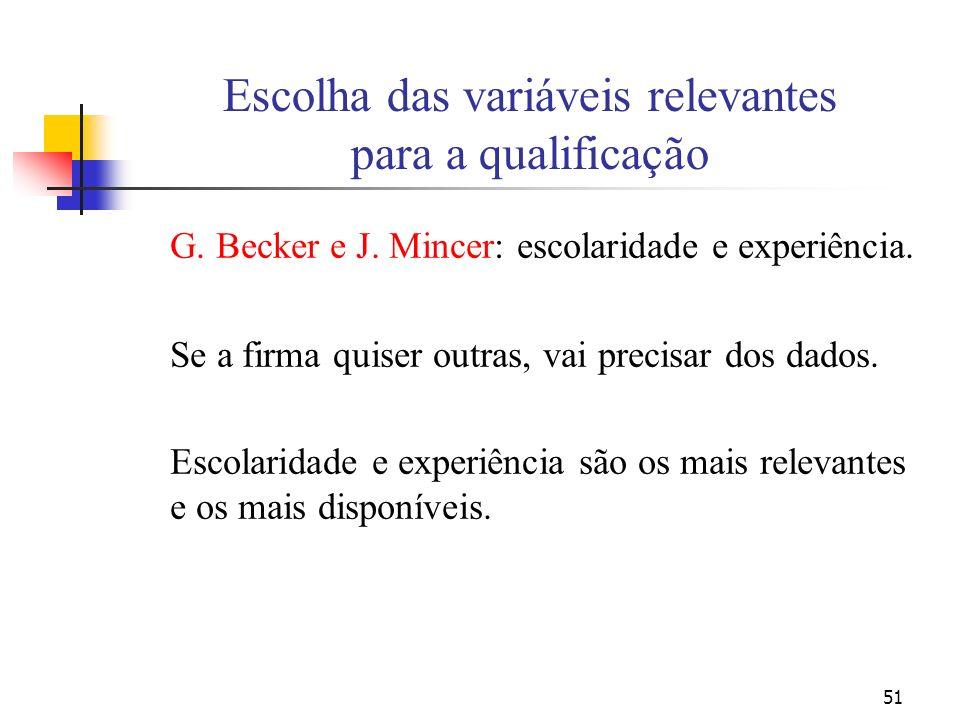 51 Escolha das variáveis relevantes para a qualificação G. Becker e J. Mincer: escolaridade e experiência. Se a firma quiser outras, vai precisar dos