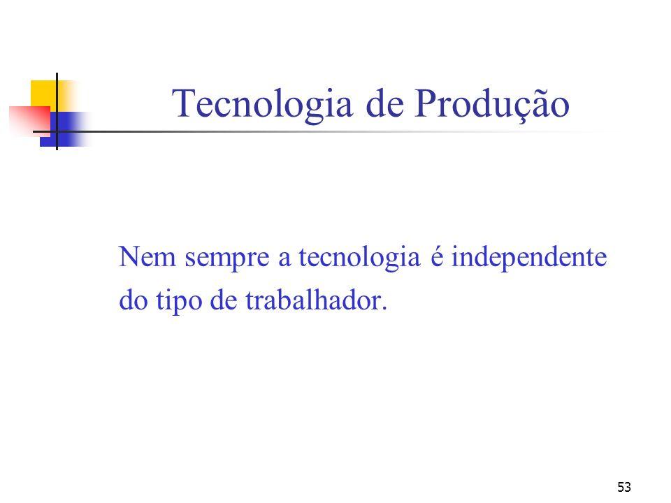 53 Tecnologia de Produção Nem sempre a tecnologia é independente do tipo de trabalhador.