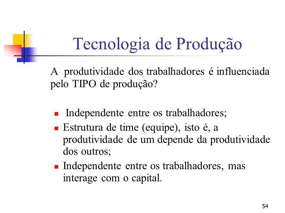 54 Tecnologia de Produção A produtividade dos trabalhadores é influenciada pelo TIPO de produção? Independente entre os trabalhadores; Estrutura de ti