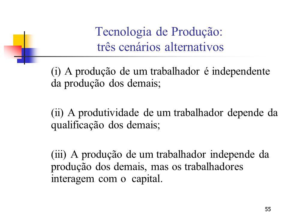 55 Tecnologia de Produção: três cenários alternativos (i) A produção de um trabalhador é independente da produção dos demais; (ii) A produtividade de um trabalhador depende da qualificação dos demais; (iii) A produção de um trabalhador independe da produção dos demais, mas os trabalhadores interagem com o capital.