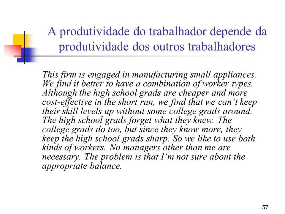 57 A produtividade do trabalhador depende da produtividade dos outros trabalhadores This firm is engaged in manufacturing small appliances. We find it