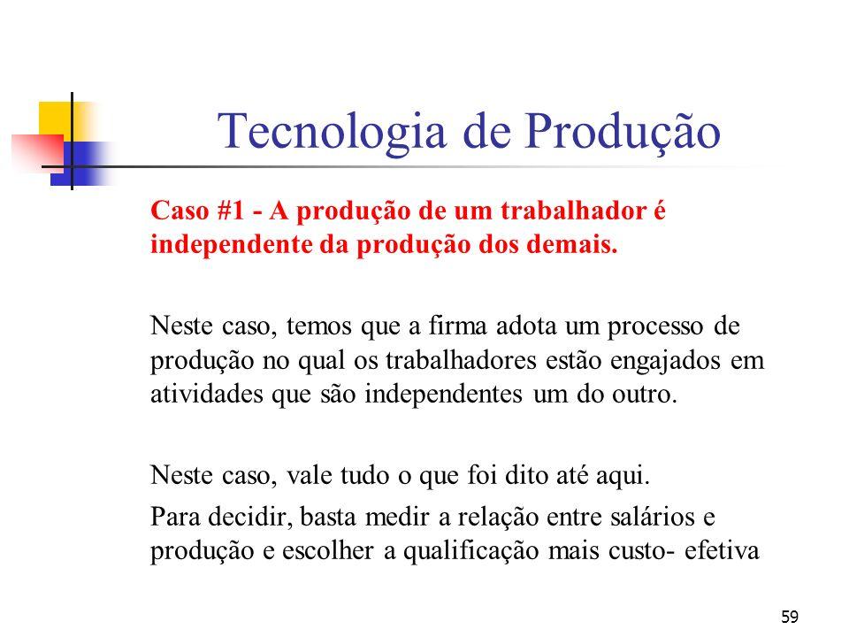 59 Tecnologia de Produção Caso #1 - A produção de um trabalhador é independente da produção dos demais. Neste caso, temos que a firma adota um process