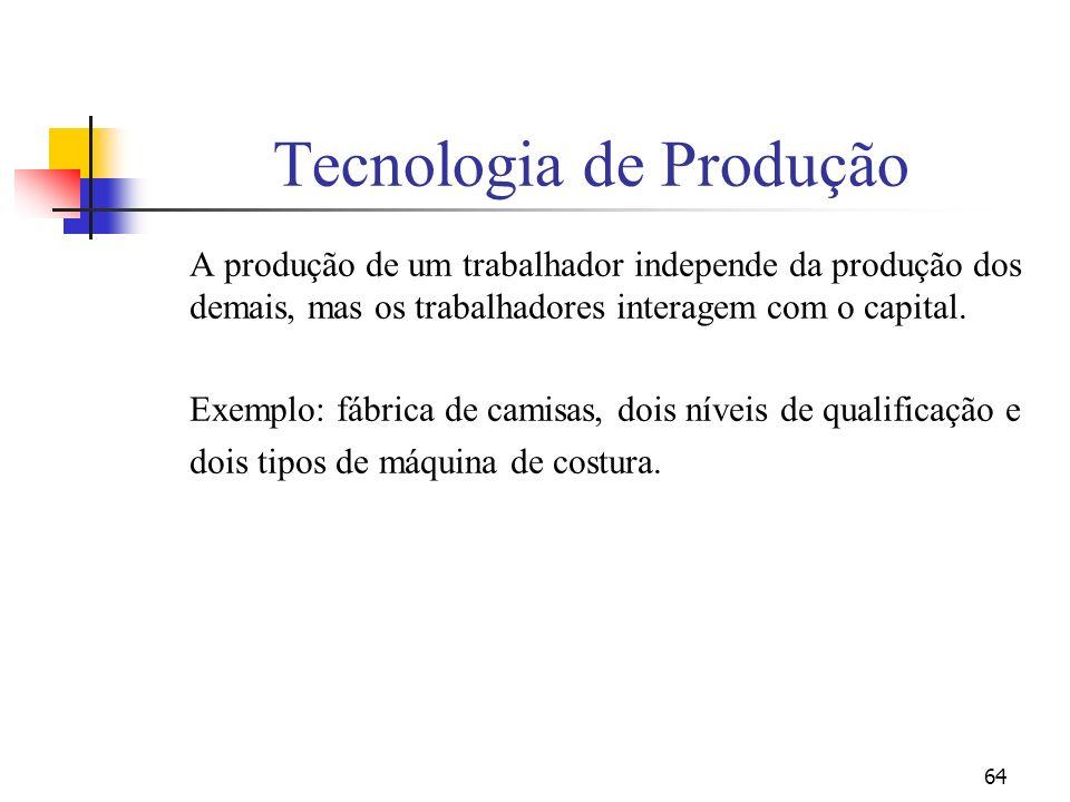 64 Tecnologia de Produção A produção de um trabalhador independe da produção dos demais, mas os trabalhadores interagem com o capital. Exemplo: fábric