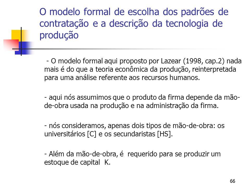 66 O modelo formal de escolha dos padrões de contratação e a descrição da tecnologia de produção - O modelo formal aqui proposto por Lazear (1998, cap.2) nada mais é do que a teoria econômica da produção, reinterpretada para uma análise referente aos recursos humanos.