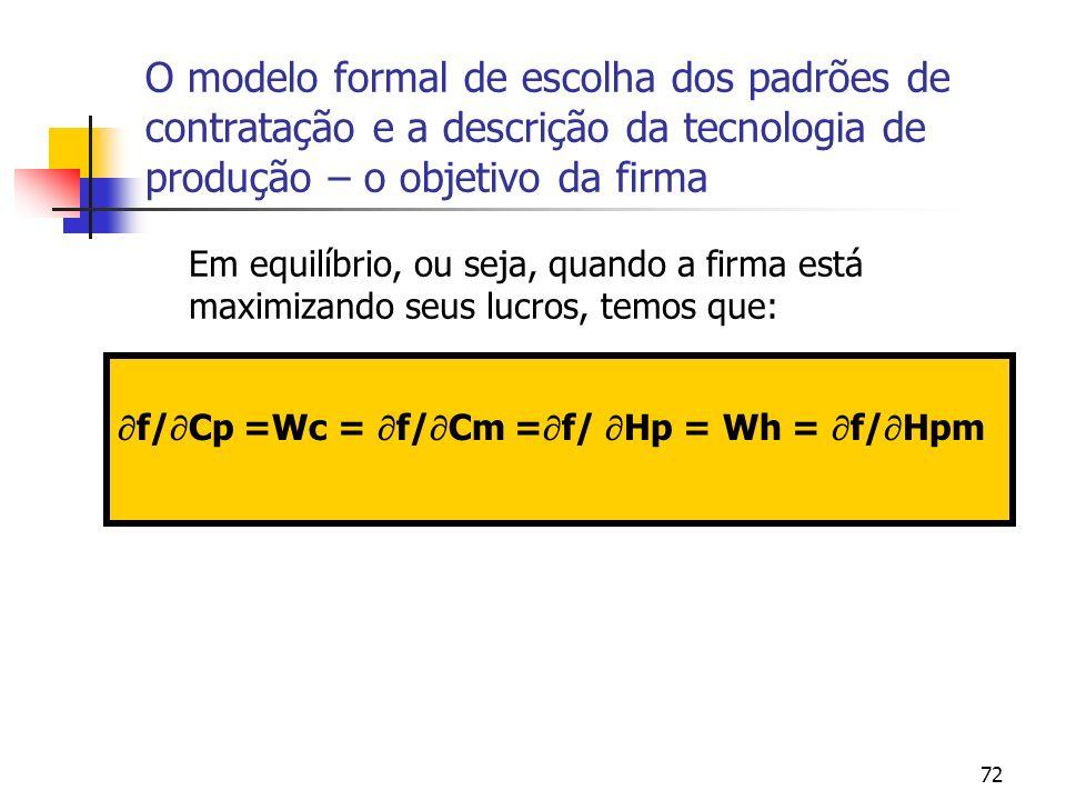 72 O modelo formal de escolha dos padrões de contratação e a descrição da tecnologia de produção – o objetivo da firma Em equilíbrio, ou seja, quando a firma está maximizando seus lucros, temos que: f/ Cp =Wc = f/ Cm = f/ Hp = Wh = f/ Hpm