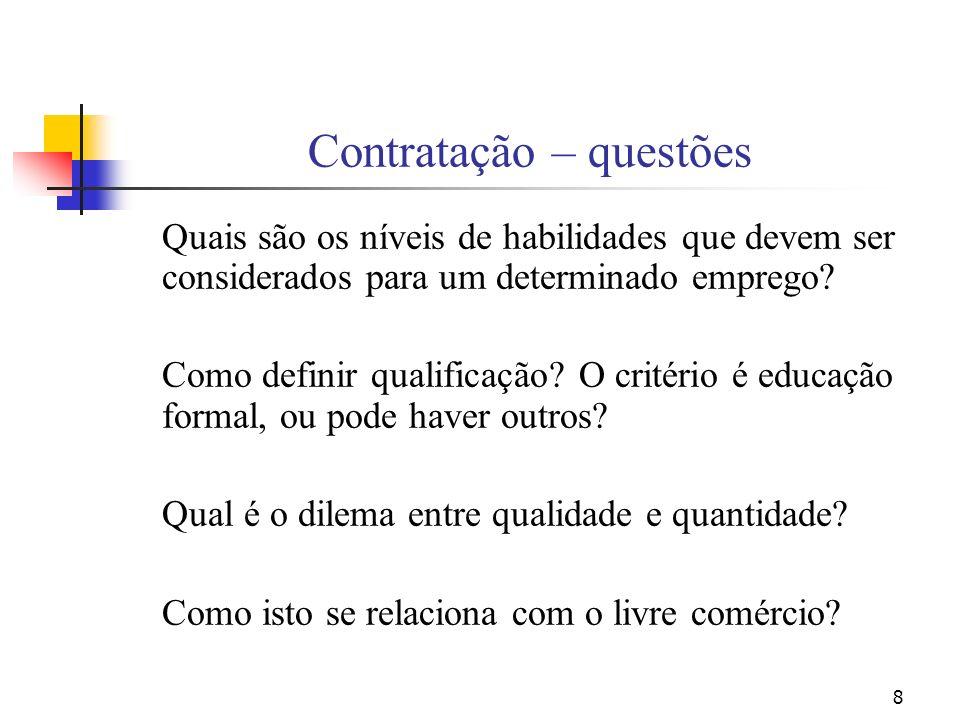 8 Contratação – questões Quais são os níveis de habilidades que devem ser considerados para um determinado emprego? Como definir qualificação? O crité