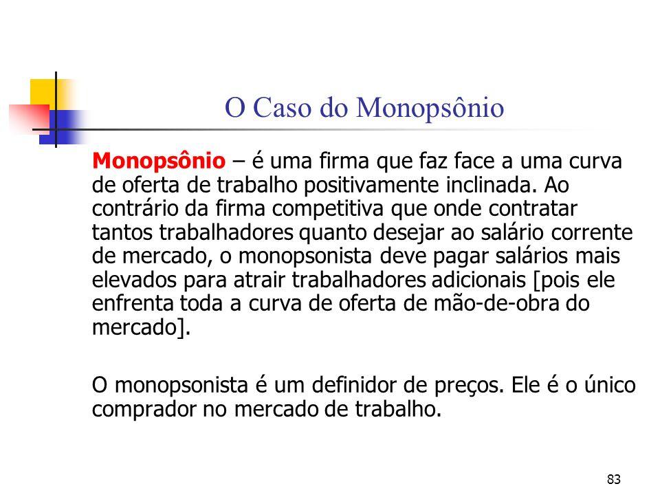83 O Caso do Monopsônio Monopsônio – é uma firma que faz face a uma curva de oferta de trabalho positivamente inclinada. Ao contrário da firma competi