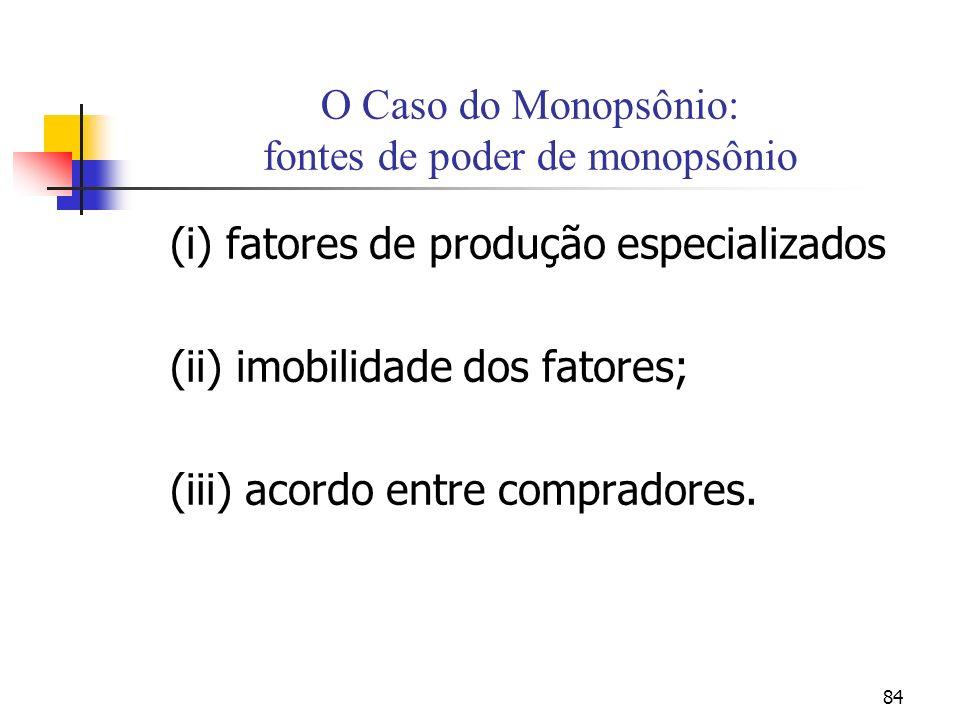 84 O Caso do Monopsônio: fontes de poder de monopsônio (i) fatores de produção especializados (ii) imobilidade dos fatores; (iii) acordo entre compradores.