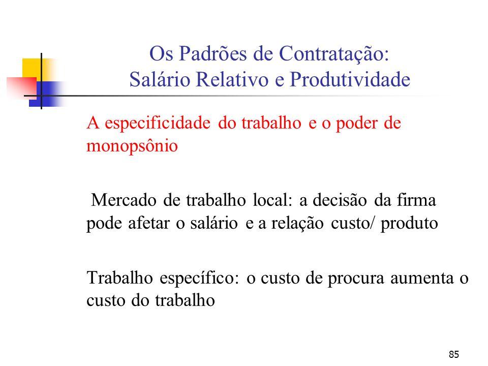 85 Os Padrões de Contratação: Salário Relativo e Produtividade A especificidade do trabalho e o poder de monopsônio Mercado de trabalho local: a decis