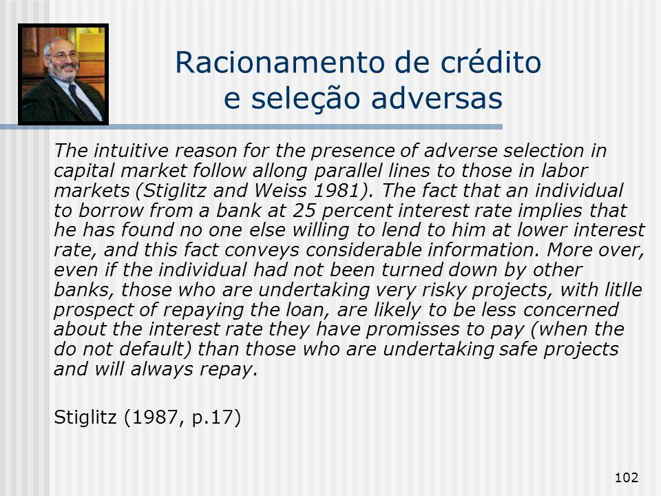 102 Racionamento de crédito e seleção adversas The intuitive reason for the presence of adverse selection in capital market follow allong parallel lin