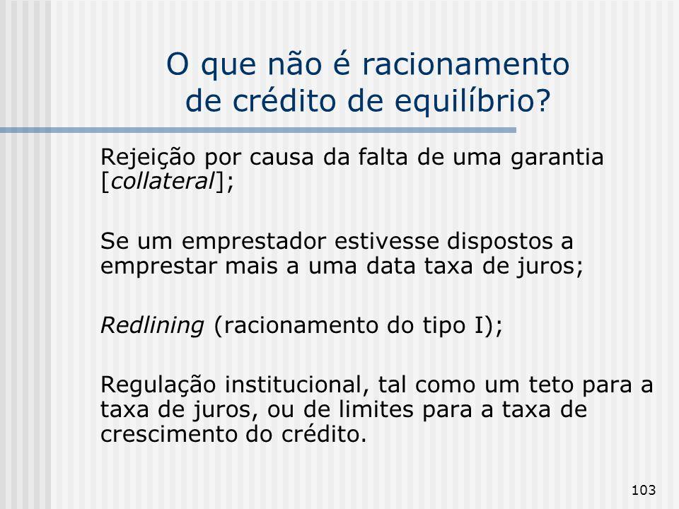 103 O que não é racionamento de crédito de equilíbrio? Rejeição por causa da falta de uma garantia [collateral]; Se um emprestador estivesse dispostos