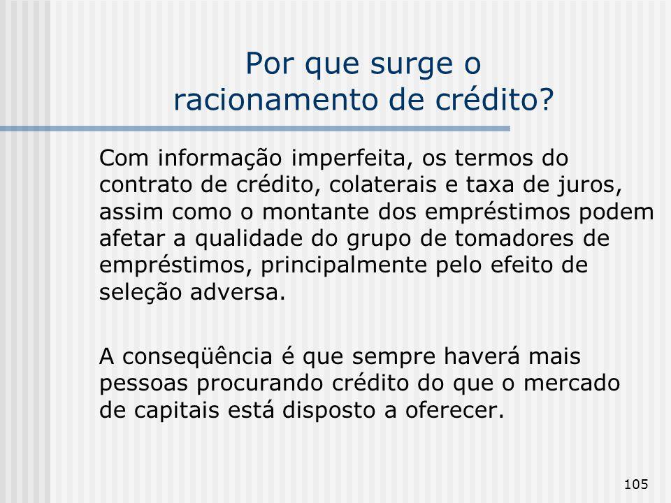 105 Por que surge o racionamento de crédito? Com informação imperfeita, os termos do contrato de crédito, colaterais e taxa de juros, assim como o mon