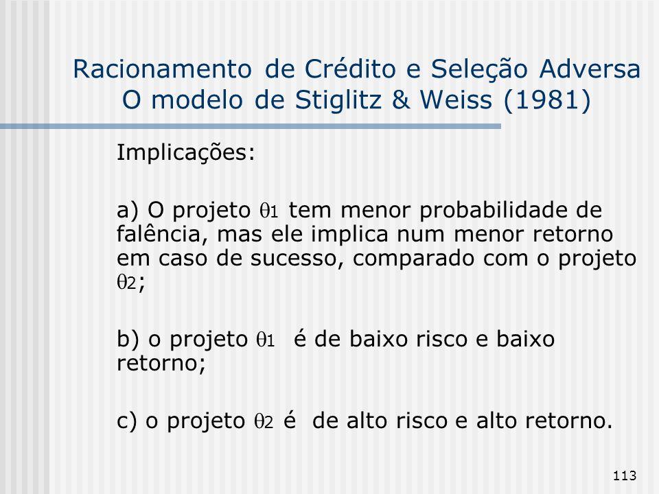 113 Racionamento de Crédito e Seleção Adversa O modelo de Stiglitz & Weiss (1981) Implicações: a) O projeto 1 tem menor probabilidade de falência, mas ele implica num menor retorno em caso de sucesso, comparado com o projeto 2 ; b) o projeto 1 é de baixo risco e baixo retorno; c) o projeto 2 é de alto risco e alto retorno.