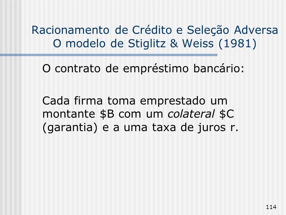 114 Racionamento de Crédito e Seleção Adversa O modelo de Stiglitz & Weiss (1981) O contrato de empréstimo bancário: Cada firma toma emprestado um montante $B com um colateral $C (garantia) e a uma taxa de juros r.