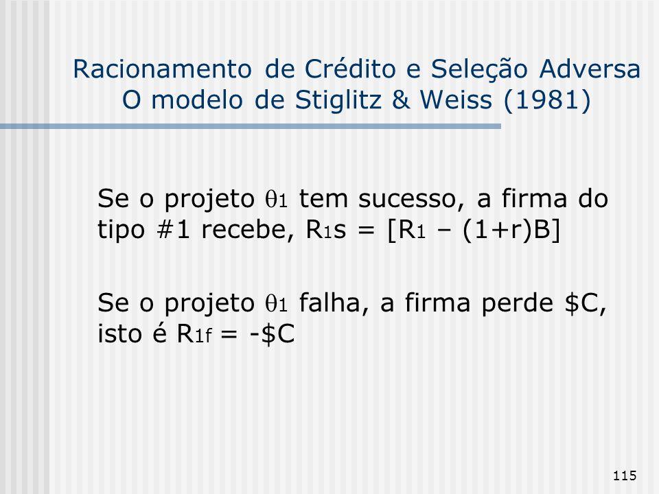 115 Racionamento de Crédito e Seleção Adversa O modelo de Stiglitz & Weiss (1981) Se o projeto 1 tem sucesso, a firma do tipo #1 recebe, R 1 s = [R 1