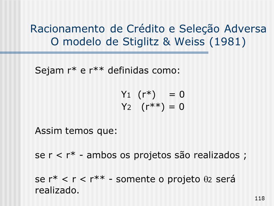 118 Racionamento de Crédito e Seleção Adversa O modelo de Stiglitz & Weiss (1981) Sejam r* e r** definidas como: Y 1 (r*) = 0 Y 2 (r**) = 0 Assim temo