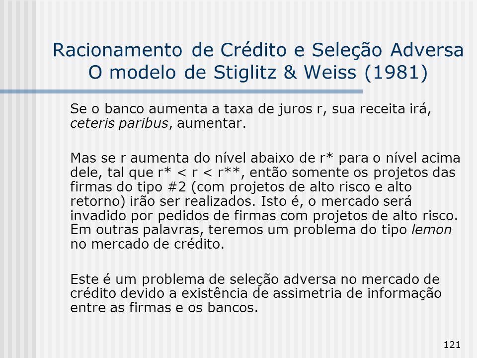 121 Racionamento de Crédito e Seleção Adversa O modelo de Stiglitz & Weiss (1981) Se o banco aumenta a taxa de juros r, sua receita irá, ceteris paribus, aumentar.