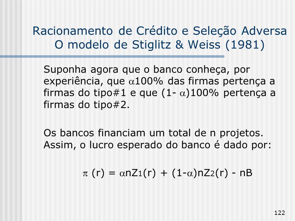 122 Racionamento de Crédito e Seleção Adversa O modelo de Stiglitz & Weiss (1981) Suponha agora que o banco conheça, por experiência, que 100% das firmas pertença a firmas do tipo#1 e que (1- )100% pertença a firmas do tipo#2.