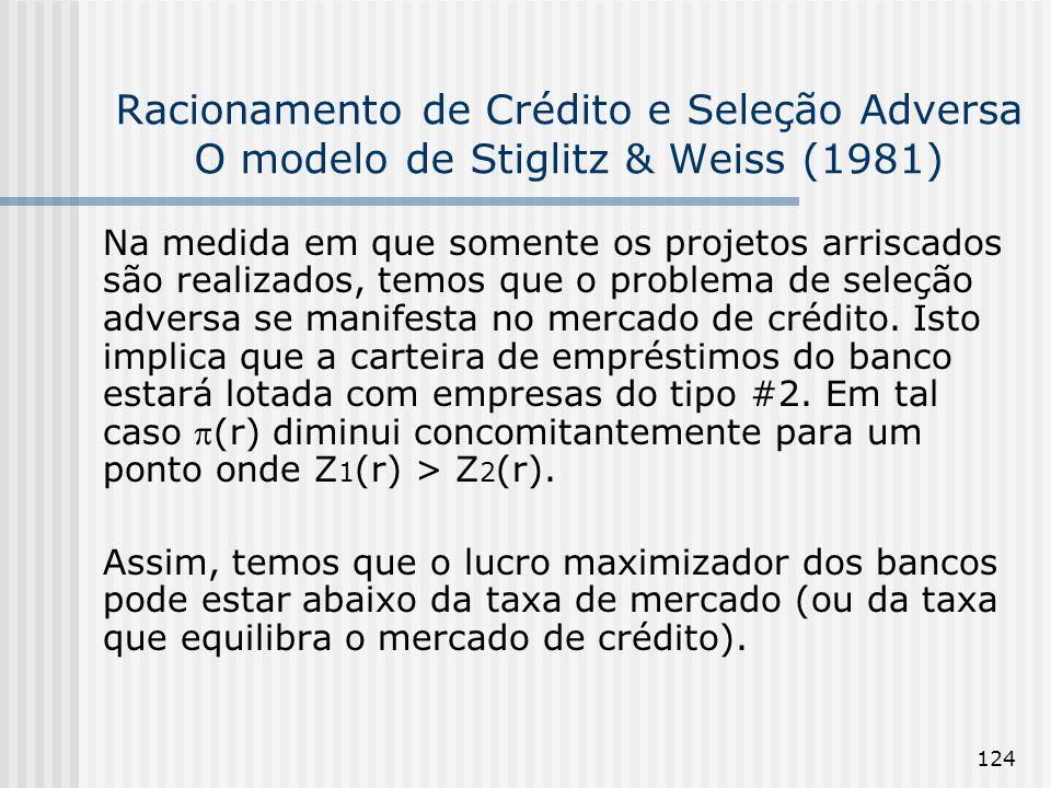 124 Racionamento de Crédito e Seleção Adversa O modelo de Stiglitz & Weiss (1981) Na medida em que somente os projetos arriscados são realizados, temos que o problema de seleção adversa se manifesta no mercado de crédito.