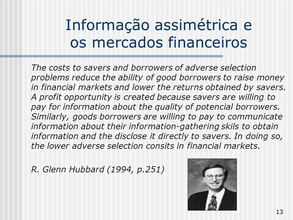13 Informação assimétrica e os mercados financeiros The costs to savers and borrowers of adverse selection problems reduce the ability of good borrowe