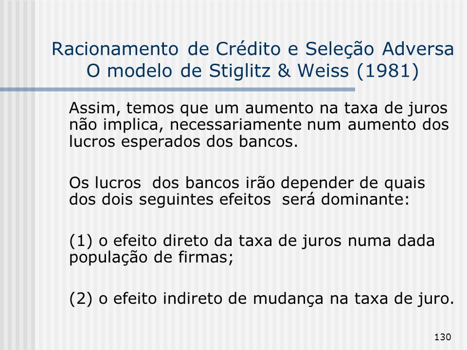 130 Racionamento de Crédito e Seleção Adversa O modelo de Stiglitz & Weiss (1981) Assim, temos que um aumento na taxa de juros não implica, necessariamente num aumento dos lucros esperados dos bancos.