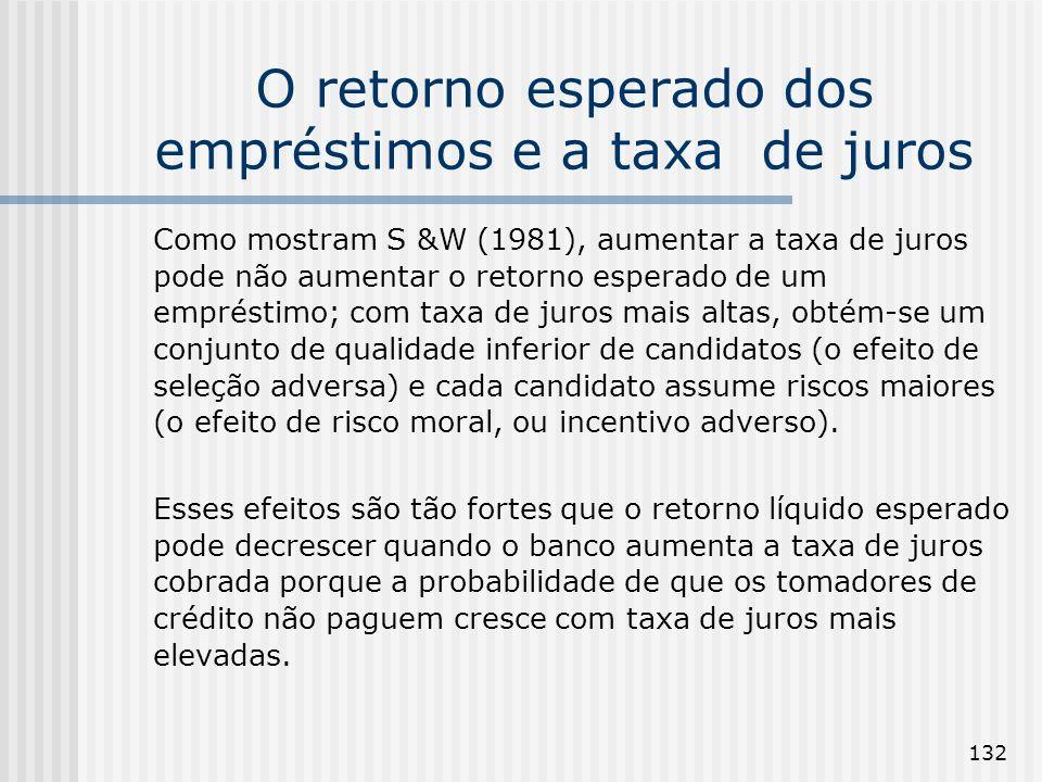 132 O retorno esperado dos empréstimos e a taxa de juros Como mostram S &W (1981), aumentar a taxa de juros pode não aumentar o retorno esperado de um