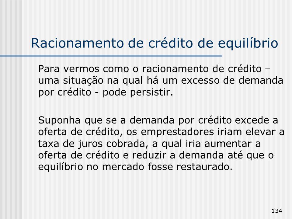 134 Racionamento de crédito de equilíbrio Para vermos como o racionamento de crédito – uma situação na qual há um excesso de demanda por crédito - pode persistir.