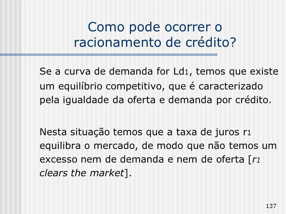 137 Como pode ocorrer o racionamento de crédito? Se a curva de demanda for Ld 1, temos que existe um equilíbrio competitivo, que é caracterizado pela