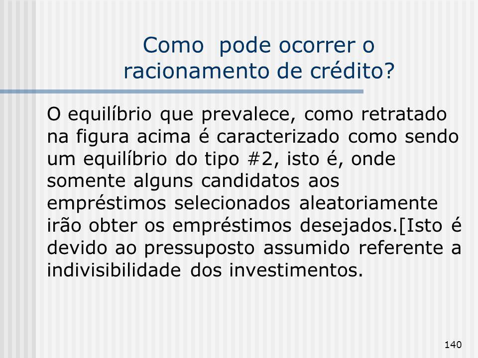 140 Como pode ocorrer o racionamento de crédito? O equilíbrio que prevalece, como retratado na figura acima é caracterizado como sendo um equilíbrio d