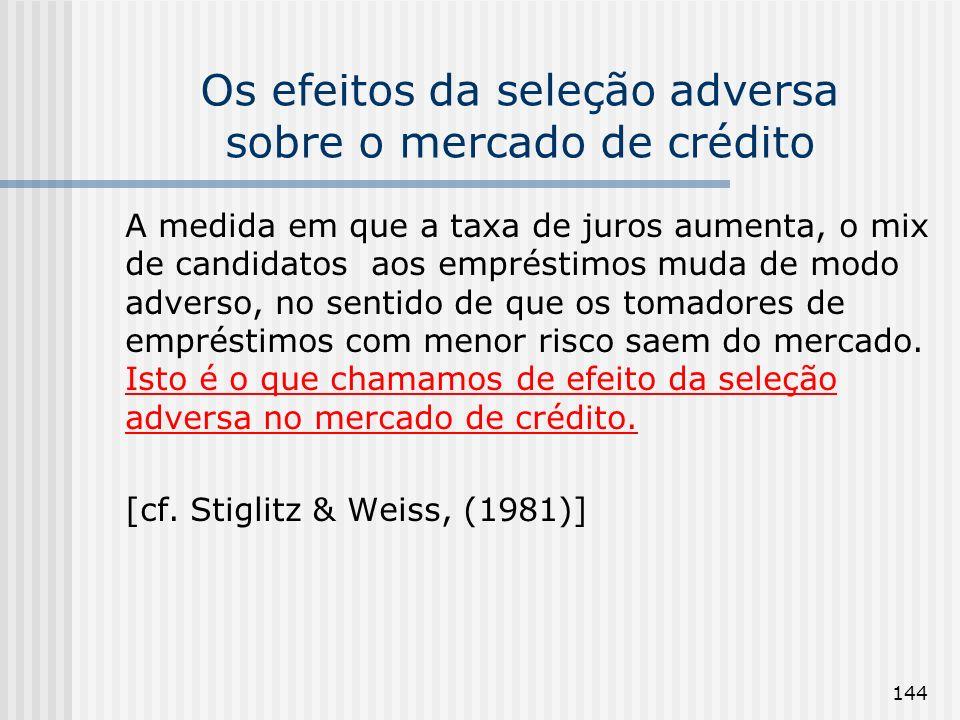 144 Os efeitos da seleção adversa sobre o mercado de crédito A medida em que a taxa de juros aumenta, o mix de candidatos aos empréstimos muda de modo