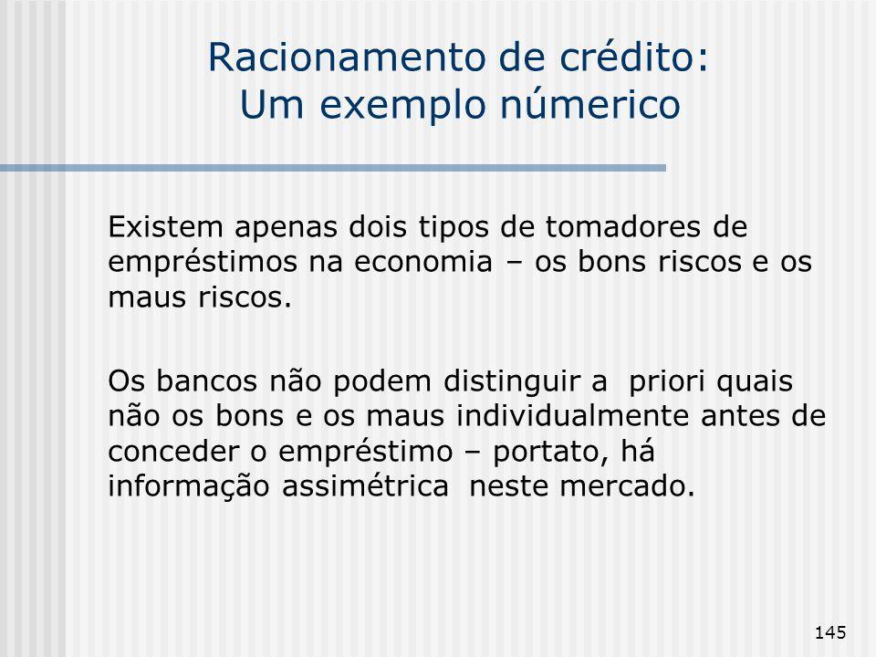 145 Racionamento de crédito: Um exemplo númerico Existem apenas dois tipos de tomadores de empréstimos na economia – os bons riscos e os maus riscos.