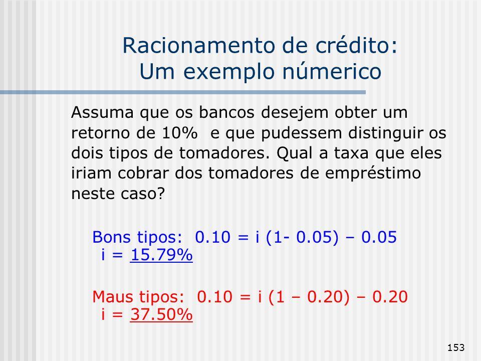 153 Racionamento de crédito: Um exemplo númerico Assuma que os bancos desejem obter um retorno de 10% e que pudessem distinguir os dois tipos de tomadores.