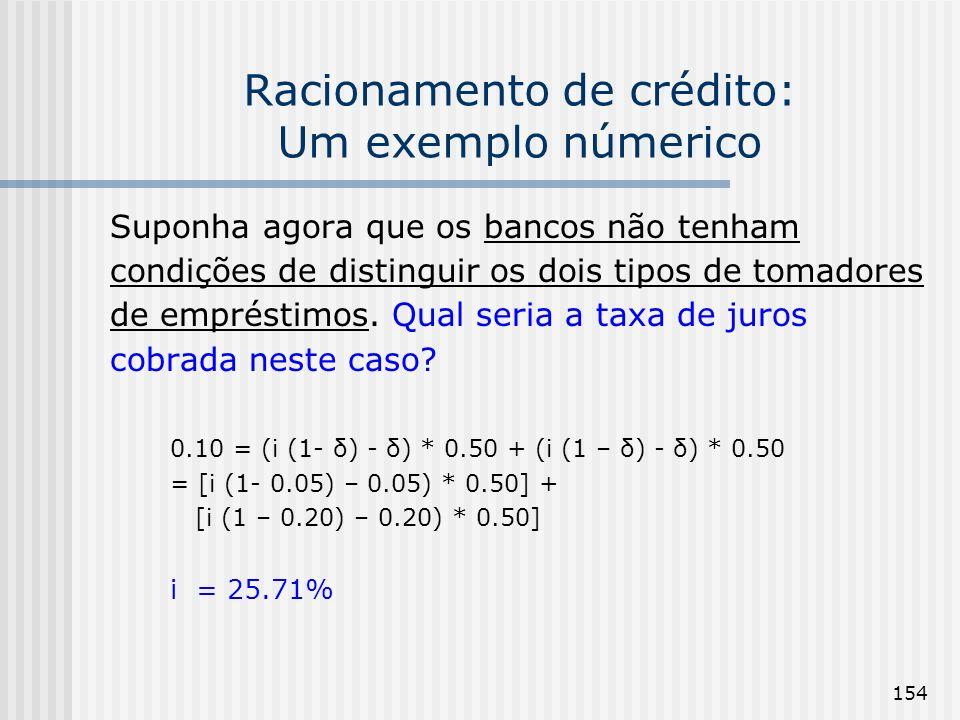 154 Racionamento de crédito: Um exemplo númerico Suponha agora que os bancos não tenham condições de distinguir os dois tipos de tomadores de emprésti