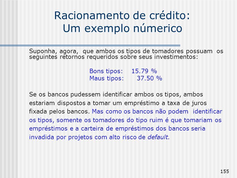 155 Racionamento de crédito: Um exemplo númerico Suponha, agora, que ambos os tipos de tomadores possuam os seguintes retornos requeridos sobre seus investimentos: Bons tipos: 15.79 % Maus tipos: 37.50 % Se os bancos pudessem identificar ambos os tipos, ambos estariam dispostos a tomar um empréstimo a taxa de juros fixada pelos bancos.