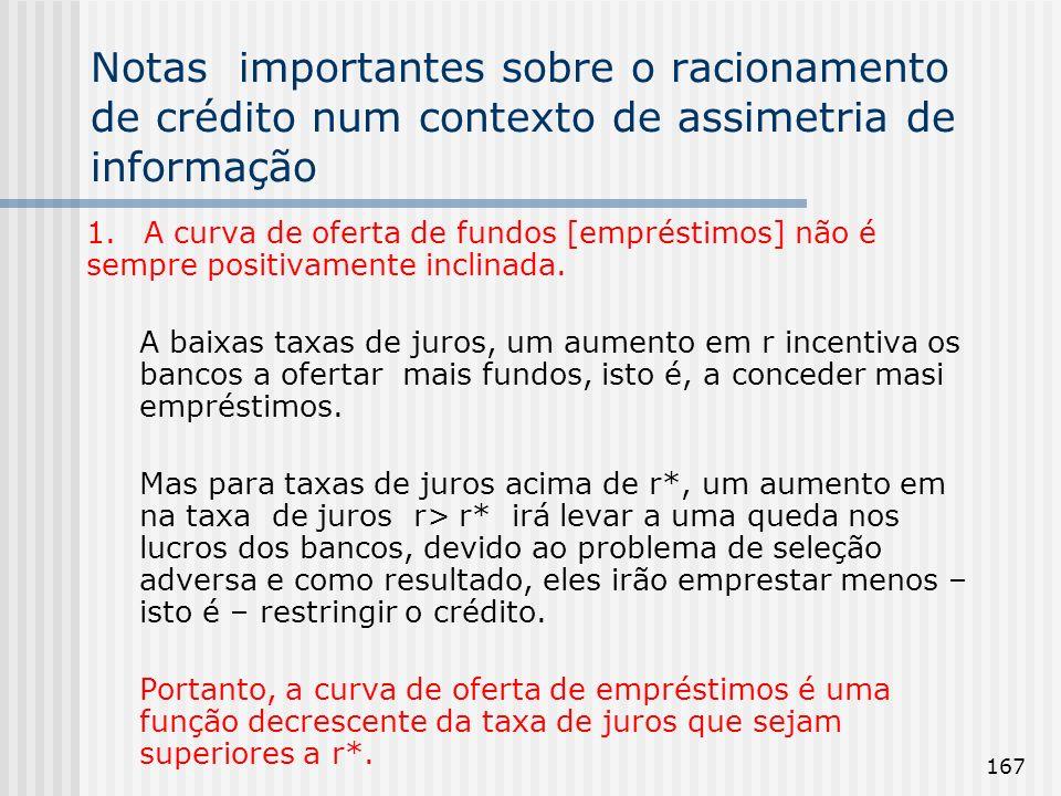167 Notas importantes sobre o racionamento de crédito num contexto de assimetria de informação 1.A curva de oferta de fundos [empréstimos] não é sempr