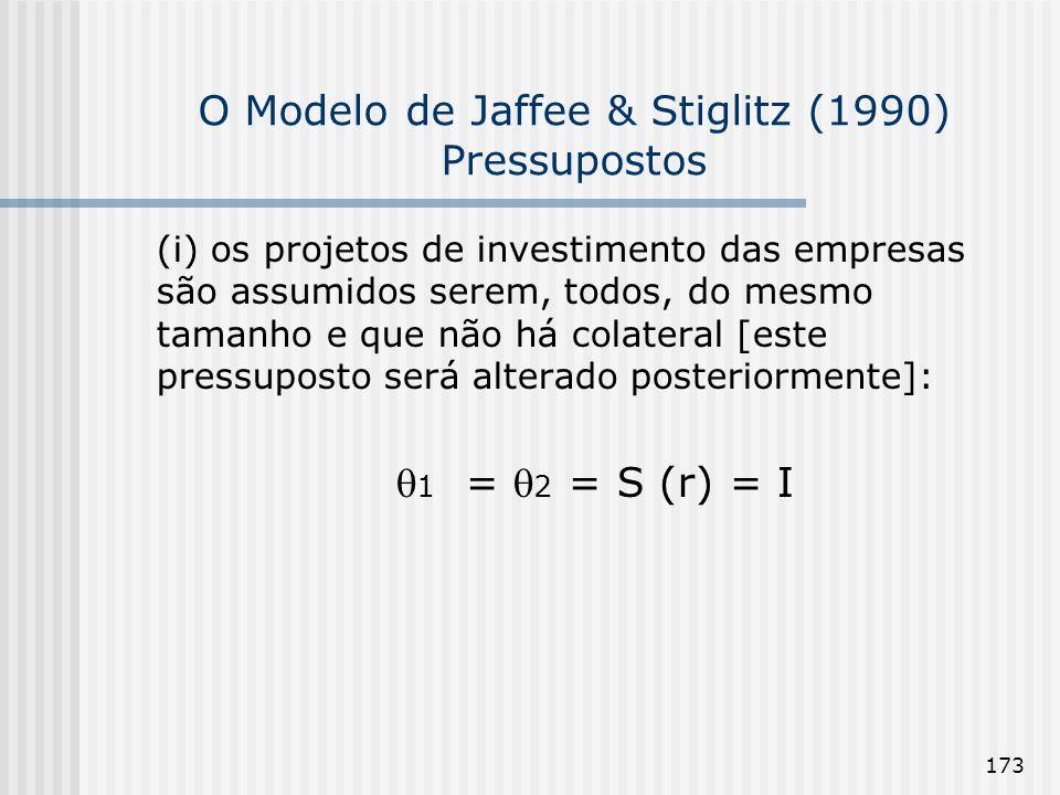 173 O Modelo de Jaffee & Stiglitz (1990) Pressupostos (i) os projetos de investimento das empresas são assumidos serem, todos, do mesmo tamanho e que não há colateral [este pressuposto será alterado posteriormente]: 1 = 2 = S (r) = I