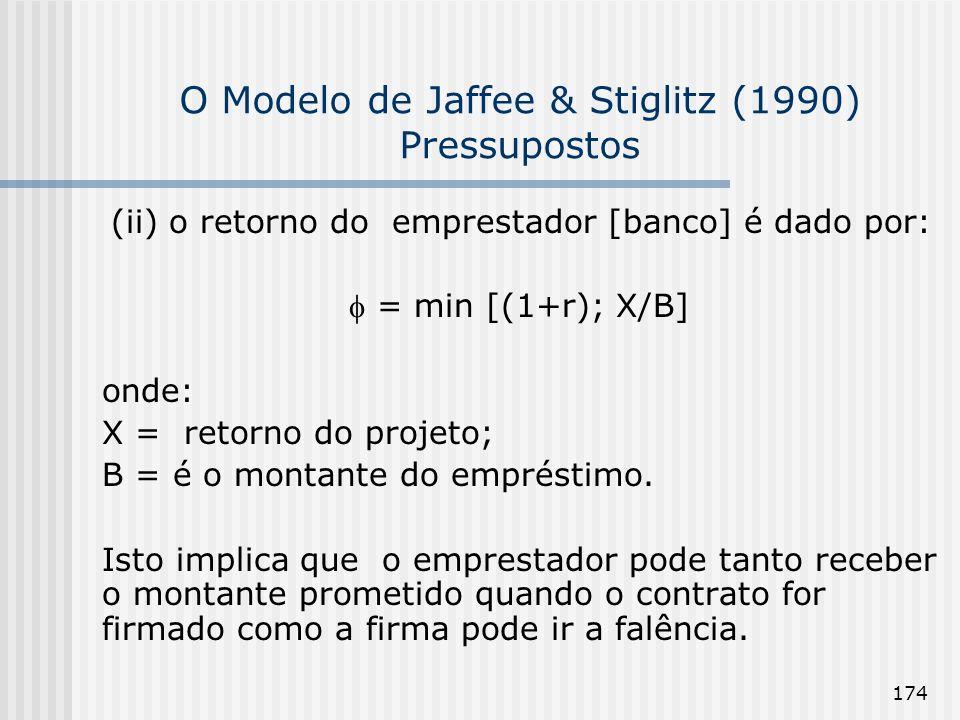 174 O Modelo de Jaffee & Stiglitz (1990) Pressupostos (ii) o retorno do emprestador [banco] é dado por: = min [(1+r); X/B] onde: X = retorno do projet