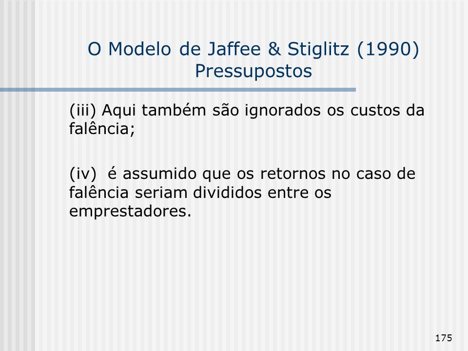 175 O Modelo de Jaffee & Stiglitz (1990) Pressupostos (iii) Aqui também são ignorados os custos da falência; (iv) é assumido que os retornos no caso d
