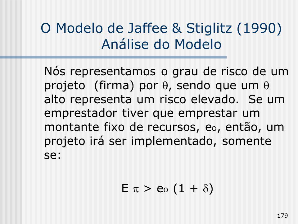 179 O Modelo de Jaffee & Stiglitz (1990) Análise do Modelo Nós representamos o grau de risco de um projeto (firma) por, sendo que um alto representa um risco elevado.