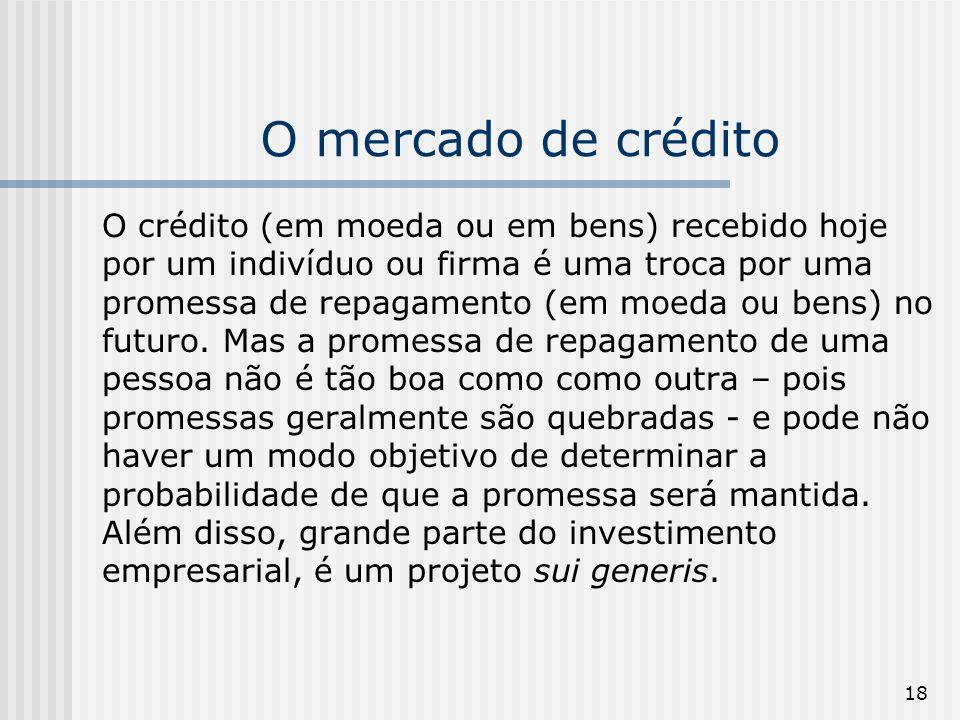 18 O mercado de crédito O crédito (em moeda ou em bens) recebido hoje por um indivíduo ou firma é uma troca por uma promessa de repagamento (em moeda ou bens) no futuro.