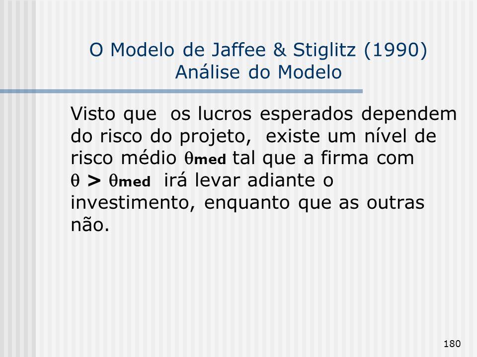 180 O Modelo de Jaffee & Stiglitz (1990) Análise do Modelo Visto que os lucros esperados dependem do risco do projeto, existe um nível de risco médio