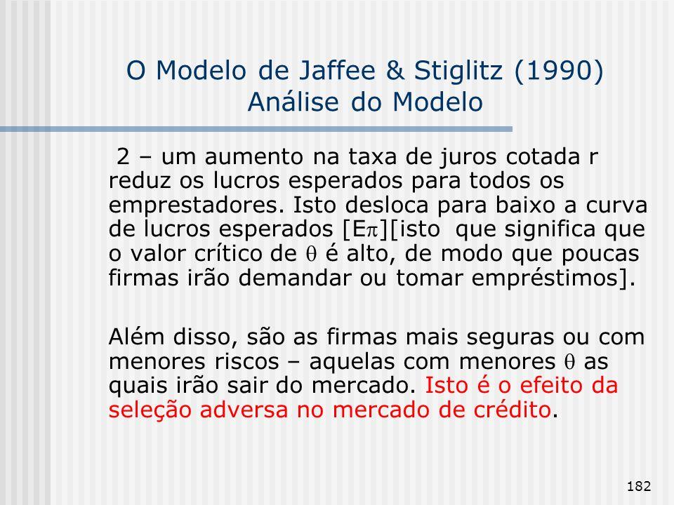 182 O Modelo de Jaffee & Stiglitz (1990) Análise do Modelo 2 – um aumento na taxa de juros cotada r reduz os lucros esperados para todos os emprestadores.