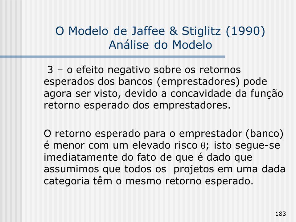 183 O Modelo de Jaffee & Stiglitz (1990) Análise do Modelo 3 – o efeito negativo sobre os retornos esperados dos bancos (emprestadores) pode agora ser visto, devido a concavidade da função retorno esperado dos emprestadores.
